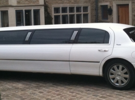White Limousine for wedding hire in Andover